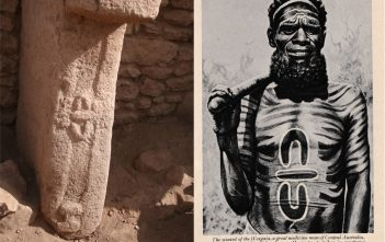 "Above Left - Pillar 28 from Enclosure C, Gobekli Tepe (Image Credit: K. Schmidt, DAI). Above right - ""Medicine Man of the Worgaia"" (Image Credit: Peoples of All Nations, 1922)."