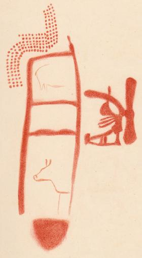A drawing of the art shows animals and other symbols around the ladder shape. It's stiil unclear if they date to the same time or were painted later. PHOTOGRAPH BY BREUIL ET AL